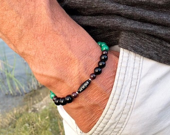 Men's Zen as F#ck Paradise Mala Bracelet | NATURAL Green Malachite | Black Onyx | Garnet | Mala Beads | Powerful Spiritual Transformation