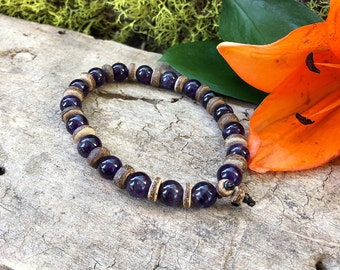 Men's Rest and Recovery Mala Bracelet   Luxury Amethyst Gemstones   High Vibrational Healing   Natural Coconut Wood   Clarity   Resolve