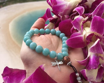 Divine Dragonfly Mala Bracelet | AAA Amazonite Gemstone Mala Beads | Sterling Silver Charm | Abundance | Eases Worry | Boosts Confidence