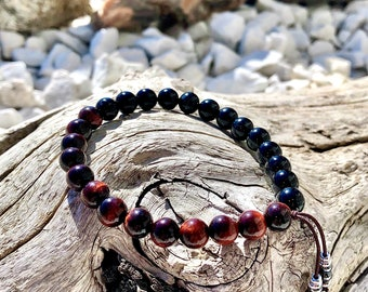 NEW! Men's Strong & Steady Mala Bracelet | Luxury AAA Mala Beads | Red Tigers Eye | Black Onyx | Hematite Crystal Tassel | Passion | Drive