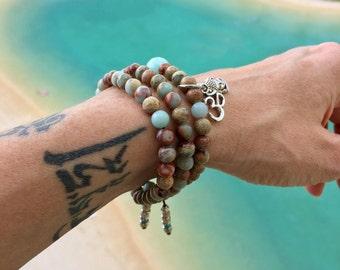 Aqua Triple Wrap Mala Bracelet | Aqua Terra Jasper Gemstones | Yoga Mala Beads | Om | Buddha | Heals Emotional Wounds | Tranquility | Peace