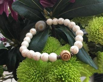 Zen Mala Bracelet | Agate | Howlite | Bohemian Yoga Bracelet | Wrist Mala | Reiki Infused Mala Beads | Eases Anxiety | Diffuses Anger