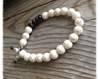 Bhakti Mala Bracelet | Howlite | Smoky Quartz | Boho Mala Beads | Yoga Wrist Mala | Helps Release Attachments| Diffuses Anger | Calming