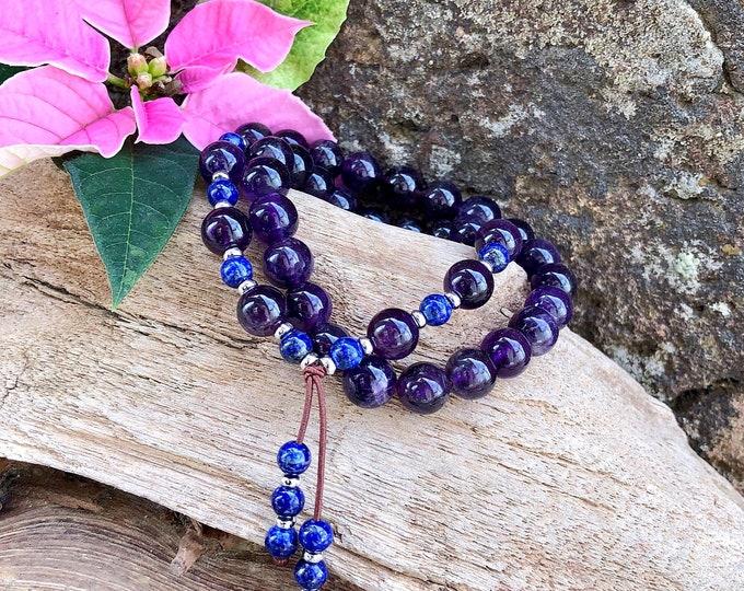 Featured listing image: Ascension Double Mala Bracelet   Amethyst   Blue Lapis Lazuli   AAA Gemstone Mala Beads   Spiritual Expansion   Clairvoyance   Protection
