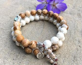 Soothing Mala Bracelet Set | Luxury Picture Jasper | White Howlite | Lotus | Buddha | Reduces Stress | Comfort | Harmony | Balance