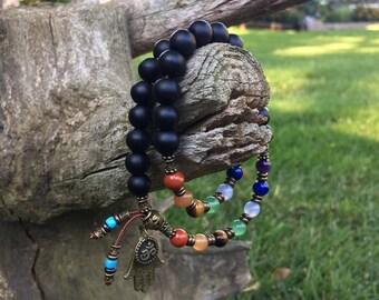 Seven Chakra Hamsa Mala Bracelet | Mala Beads | Yoga | Onyx | Red Jasper | Adventurine | Tiger Eye | Blue Lace Agate | Lapis | Amethyst