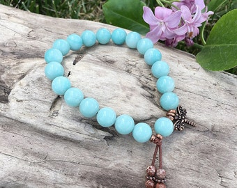 Dragonfly Dreams Mala Bracelet | Luxury Amazonite Mala Beads | Picture Jasper | Healing Gemstones | Dragonfly Wisdom | Manifest Your Dreams