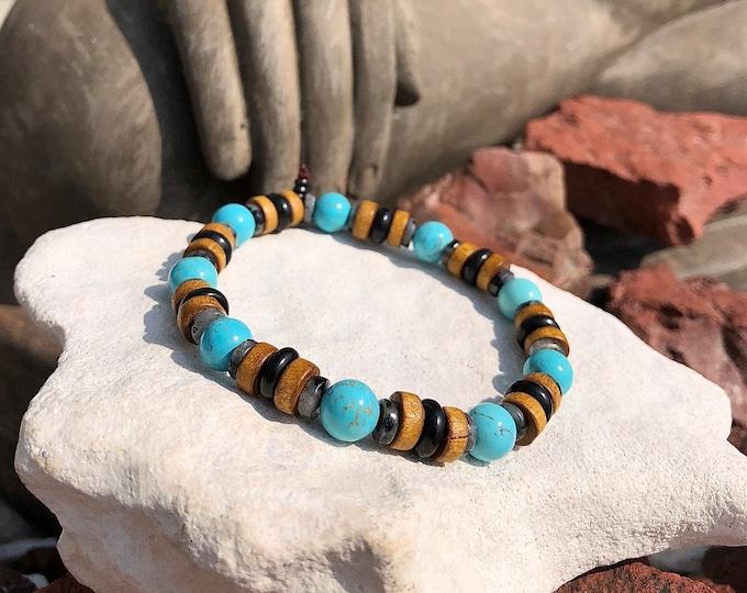 Featured listing image: NEW! Men's Alchemist Mala Bracelet   Authentic Arizona Turquoise   Rare Shungite   Larvikite   Coconut Shell   Clears Energy Imbalances