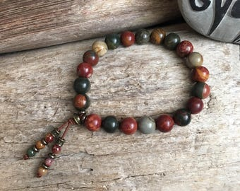 Worthy Mala Bracelet | Picasso Jasper | Bead Tassel | Mala Beads | Yoga | Reiki Infused | Healing | Speeds Metabolism | Enhances Body Image
