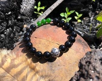 Men's Limitless Mala Bracelet | Mala Beads | Wrist Mala | Reiki Infused | High Vibration | Om Mani Mantra | Onyx | Jade | Wealth | Strength