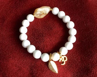 Uplifting Mala Bracelet | White Onyx | Citrine | Natural Luxury Gemstones | Om | Releasing the Past | Self Esteem | Confidence | Success