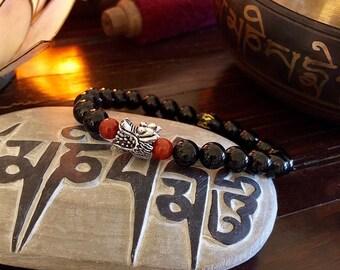 Men's Dragon Mala Bracelet   Mala Beads   Black Onyx   Red Jasper   Protection   Alleviates Worry and Negative Energy   Stabilizes Emotions