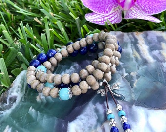 Time For Change Mala Bracelet | AAA Amazonite | AAA Lapis Lazuli | Natural Gray Wood | Four Wrap Bracelet | True Self | Moving Forward