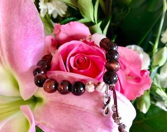 Passion Mala Bracelet | Red Tigers Eye | Rose Quartz | Crazy Lace Agate | Garnet | AAA Luxury Gemstones | Love | Sex | Romance | Vitality