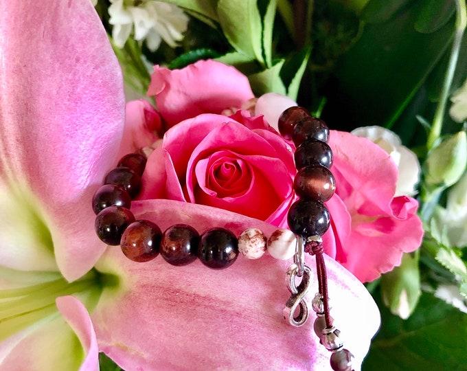 Featured listing image: Passion Mala Bracelet | Red Tigers Eye | Rose Quartz | Crazy Lace Agate | Garnet | AAA Luxury Gemstones | Love | Sex | Romance | Vitality