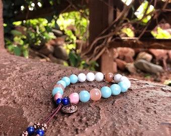 New Beginnings Mala Bracelet | AAA Gems | Moonstone | Sunstone | Rhodonite | Amazonite | Lapis Lazuli | Luck | Hope | Intuition | Abundance