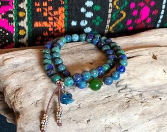 Life Purpose Mala Bracelet   Luxury Gemstone Mala Beads   Azurite   Jade   Apatite   Reiki Infused   Healing   Enlightenment   True Purpose