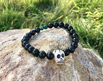 Men's Cannabis Skull Mala Bracelet | Obsidian | Moss Agate | Pot Leaf | Reiki Infused Mala Beads | Shields Negativity | Self Expression