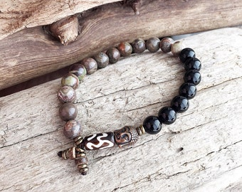 Men's Strength Mala Bracelet | Rainforest Agate | Black Onyx | Reiki Infused Natural Gemstones | Healing Mala Beads | Balances all Chakras