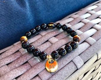 Just BE Mala Bracelet | Black Onyx | Tigers Eye | Reiki Infused Mala Beads | Luxury Gemstones | Confidence | Strength | Grounding | Presence