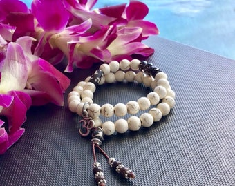 Bhakti Double Mala Bracelet | Howlite | Smoky Quartz | Wrist Mala | Reiki Infused Mala Beads | Calming | Relaxing | Reduces Fear & Anger