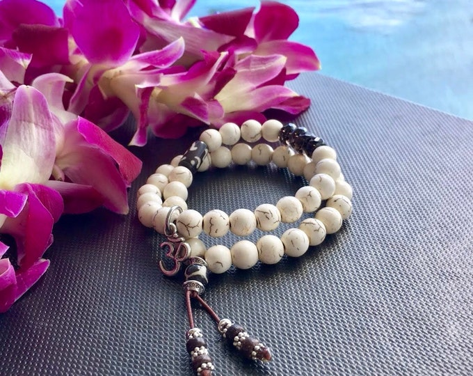 Featured listing image: Bhakti Double Mala Bracelet | Howlite | Smoky Quartz | Wrist Mala | Reiki Infused Mala Beads | Calming | Relaxing | Reduces Fear & Anger