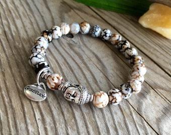 Tashi Gratitude Mala Bracelet | Healing Wrist Mala | Luxury Mala Beads | Wood Grain Agate | Health | Harmony | Balance | Good Fortune