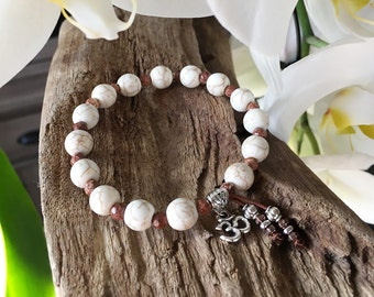 Santosa Mala Bracelet | Healing Mala Beads | Howlite | Picture Jasper | Yoga | Reiki Infused | Comforting | Cools Anger | Reduces Anxiety