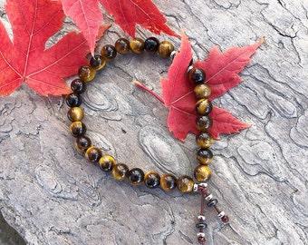 Willpower Mala Bracelet | Golden Tigers Eye | Black Tourmaline | Luxury Gemstone Mala Beads | Reiki Infused | Self Control | Discipline