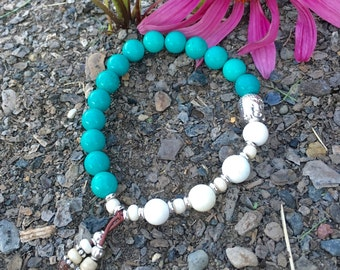Shraddha Mala Bracelet | Turquoise | Magnesite | Yoga Bracelet | Reiki Mala Beads | Dispels Negative Energy | Brings Friendship and Love