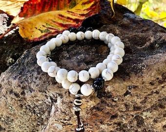 Mens Bhakti Double Mala Bracelet | White Howlite | Black Onyx | Unique Mala Beads | Wrist Mala | Reiki Infused | Calms Anxiety | Cools Anger