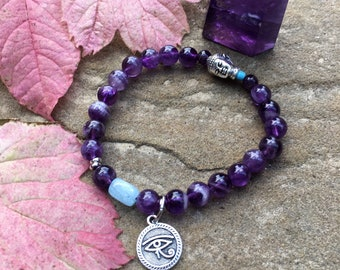 Clarity Mala Bracelet | Purple Amethyst | Aquamarine | Luxury Gemstone Mala Beads | Eye of Horus | Buddha | Focus | Intuition | Clear Mind
