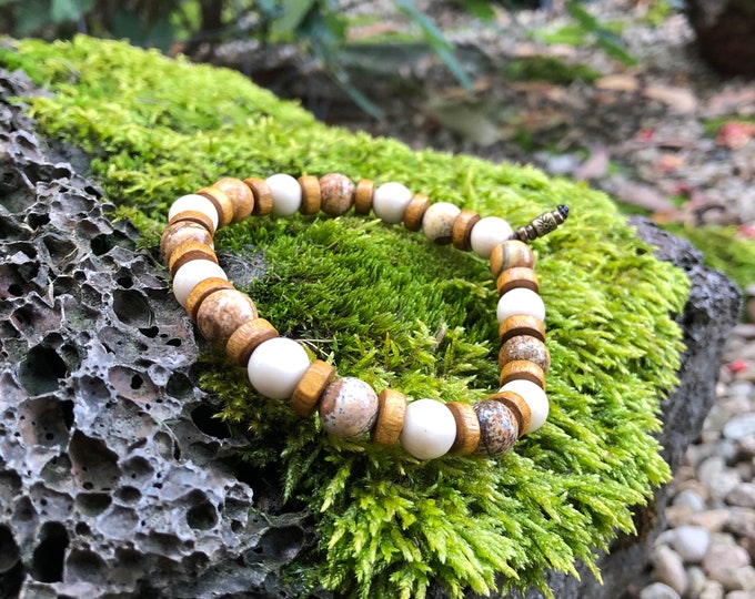 Featured listing image: NEW! Men's Tranquil Mala Bracelet   Picture Jasper   Fossil Jasper   Coconut Shell   Natural Gemstone Beads   Comforting   Ultra Calming