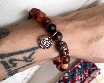 Women's Aura Shield Mala Bracelet | Red Dream Agate Beads | Yoga Jewelry | Wrist Mala | Red Agate | Heals Anger | Mental Focus | Protection