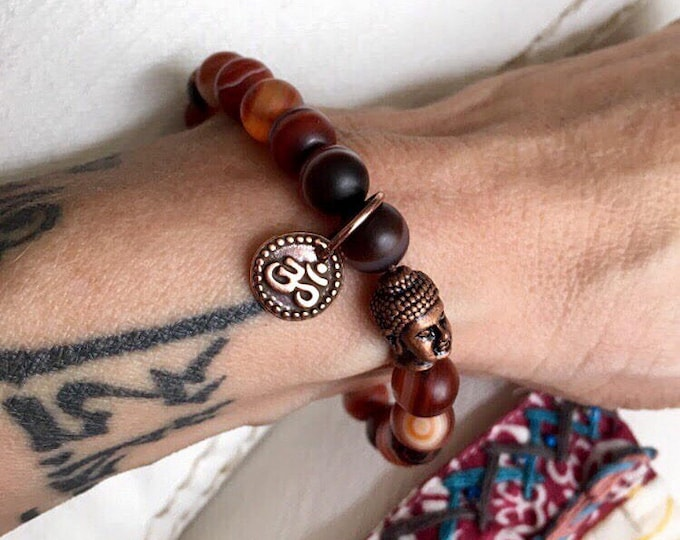 Featured listing image: Women's Aura Shield Mala Bracelet   Red Dream Agate Beads   Yoga   Wrist Mala   Red Agate   Heals Anger   Overcomes Negativity   Protection