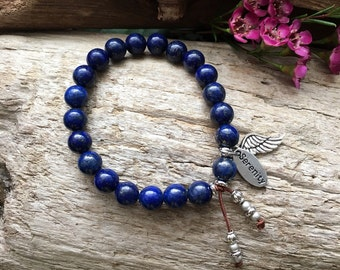 Angel of Serenity Mala Bracelet | Beautiful AA Grade Blue Lapis Lazuli | Healing Mala Beads | Yoga Bracelet | Clarity | Inspiration | Peace