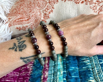 Sacred Connection Bracelet | Natural Gray Wood | Red Garnet | Pink Tourmaline | Luxury Gemstones | One Bracelet - Your Choice of Charm(s)