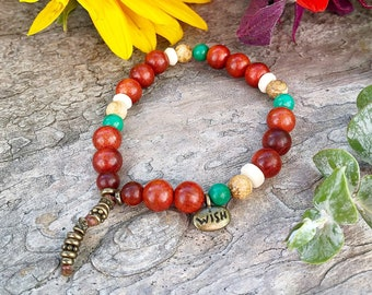 Wish Come True Mala Bracelet | Magical Raja Kayu Wood | Natural Turquoise | Jasper | Coconut Shell | Healing Mala Beads | Manifests Wishes