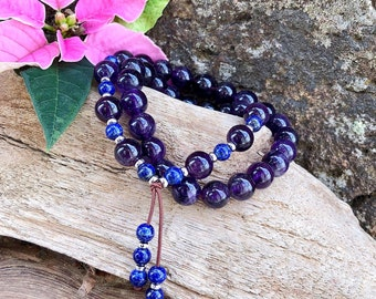 Ascension Double Mala Bracelet | AAA Amethyst | AAA Lapis Lazuli | Gorgeous Gemstone Mala Beads | Spiritual Expansion | Protection | Focus