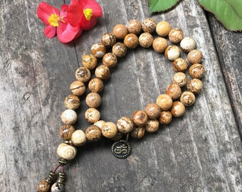 Double Comfort Mala Bracelet   Luxury Picture Jasper Gemstones   Boho Mala Beads   Reiki Healing   Om   Tranquility   Wholeness   Balance