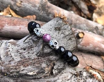 Men's Imperial Mala Bracelet | Black Onyx | Tourmaline | Gemstone Mala Beads | Sugar Skulls | Eases Fear & Worry | Boosts Confidence