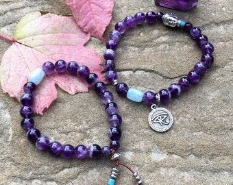 Clarity Set of Two Mala Bracelets | Luxury Purple Amethyst | Aquamarine | Reiki Healing | Eye of Horus | Protection | Clear Mind | Focus