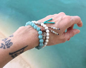 Celestial Light Set of Two Bracelets | Luxury Amazonite | Magnesite | Sterling Silver Dragonfly | Reiki Healing | Tranquility | Relaxation