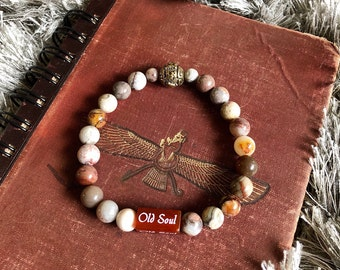NEW! Men's Old Soul Mala Bracelet | Laguna Lace Agate | Red Carnelian | Natural Gems | Balances All Chakras | Restores Trust in the Universe