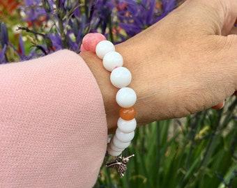 Peaceful Hummingbird Mala Bracelet | White Jade | Pink Jade | Orange Adventurine | Yoga Mala Beads | Strength | Insight | Serenity | Joy