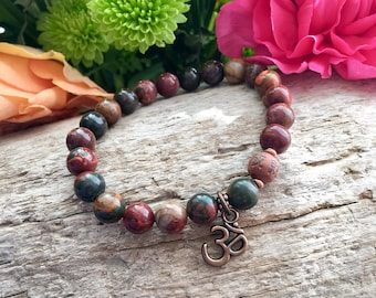 Contentment Mala Bracelet | Picasso Jasper Mala Beads | Prayer Beads | Yoga Jewelry | Meditation | Om | Grounding | Enhances Self Image