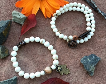 Zen Spirit Mala Bracelets | Set of TWO | Magnesite | Smoky Quartz | Dzi Agate | Cats Eye | | Hamsa | Om | Reiki Infused | Tranquility | Calm