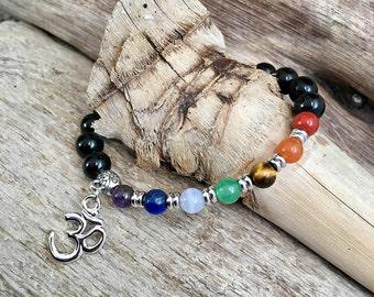 Silver Chakra Mala Bracelet | Rhodium Om Charm | Black Obsidian | Luxury Crystal Mala Beads | Healing | Grounding | Balances ALL Chakras