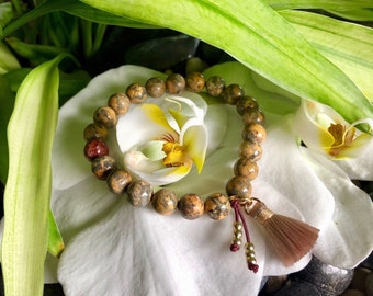 Wellness Mala Bracelet | Yellow Leopard Skin Jasper | Healing Mala Beads | Silk Tassel | Relief From Chronic Health Issues | Vitality