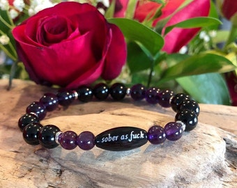 Women's Sober as F#ck Mala Bracelet | Amethyst | Black Onyx | AAA Grade Gemstones | Reiki Healing Mala Beads | Strength | Clarity | Resolve